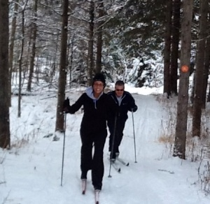 Bill Greer and Brooke enjoy first ski of the season.