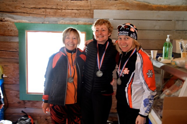 Top overall women in the 20 km, Tamsin Douglas, (3rd), Carolyn Stewart (2nd), and Cathy Cottell.(1st).