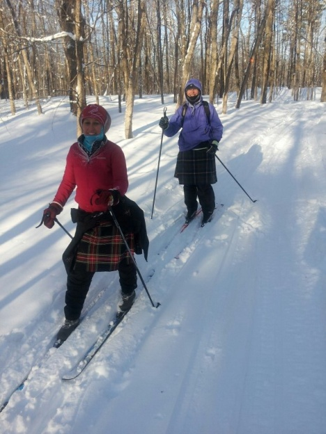 Our kilted skiers are Nancy Gaudreau and Mary Stewart finishing putting up Km markers for the Loppet on Sunday. It was -21 degrees!