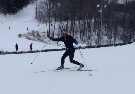 Darren Cope shows off his telemarking stride and winning smile.